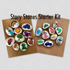 Story Starters Sets Story Stones Story Tokens Pretend Play Early Literacy Imaginative Play Teacher Gift Gift for Kids Story rocks Afterschool after school kaeun Story Stones, Aloe E Vera, Teachers Day Card, Basic Image, Painted Rocks, Hand Painted, Fleurs Diy, Time Painting, Rock Painting