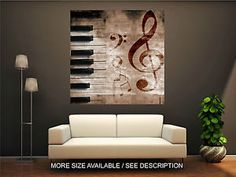 Wall-Art-Canvas-Print-Picture-Music-Signs-and-Piano-Urban-Style-Grunge-Unframed