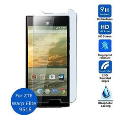 Yihailu ZTE Warp Elite, ZTE N9518 Tempered Glass Screen Protector 99.9% Ultra Clear HD Clarity 9H Hardness 2.5D Arc Toughened Film- Life Warranty -- Awesome products selected by Anna Churchill