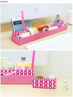 manualidades de carton para decorar el escritorio