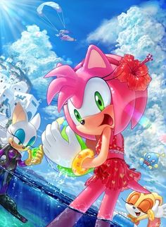 Amy Rose, Rouge the Bat, Cream the Rabbit, Cheese the Chao and Wave the Swallow (at the top) at Apotos (Sonic Unleashed)