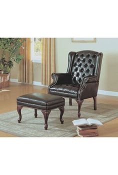 Dark Brown Leather Look Wing Chair And Ottoman by Monarch