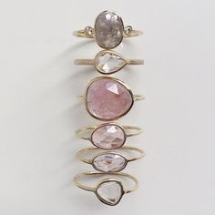 Vale Jewelry Kepler Ring, East-West Pear Ring and Rose Cut Sapphire Slice Rings