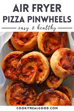 These quick and easy Air Fryer Pizza Pinwheels are great for snacks and kids lunchboxes. They're made with two ingredient dough (Greek yoghurt & self-raising flour) - no yeast or proofing required. These pizza scrolls will be ready in under 25 minutes and can be served hot or cold.