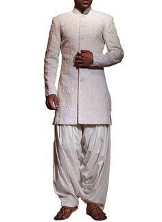 Cream Dori Jaal Sherwani   Strandofsilk.com - Indian Designers