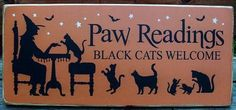 Cats Black Cat Halloween decorations witches Paw Readings Tarot Cards Astrology Plaques Primitives halloween decorations cat lovers Gypsies by SleepyHollowPrims $20.70