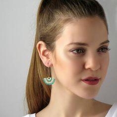 Turquoise earrings dangle Fashion earrings Long earrings for Unique Earrings, Women's Earrings, Unique Jewelry, Turquoise Pendant, Turquoise Earrings, Bracelet Crafts, Swarovski Pearls, Matching Necklaces, Fashion Earrings