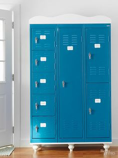 Roomy lockers offer secure hidey-holes that can be labeled to remind grown-ups and kids what is stowed where. Get the deets about this award winning combination here: http://www.bhg.com/kitchen/storage/pantry/freestanding-pantry-ideas/#page=5