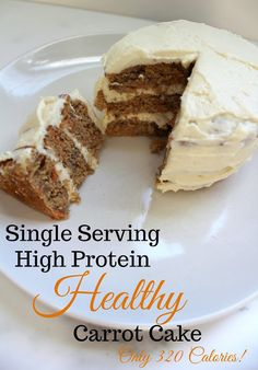 Single Serving Macro-Friendly Carrot Cake - My Girlish Whims - caroline Protein Desserts, Protein Cake, Protein Snacks, High Protein, Protein Muffins, Protein Cookies, Whey Protein, Healthy Carrot Cakes, Healthy Desserts