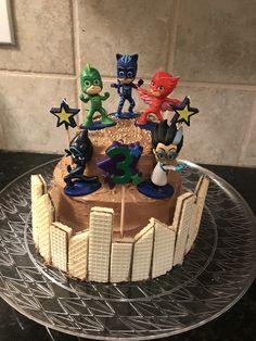 Chocolate pj masks kids birthday cake. No artificial food coloring.