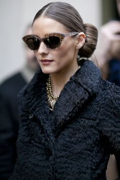 Olivia Palermo gave us the poshest of show-going styles with cat-eye glasses and a gorgeous coat.  Très Chic! The Best Street Style at Paris Fashion Week