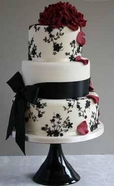 Black and white floral cake design, with deep red rose highlights Beautiful Wedding Cakes, Gorgeous Cakes, Pretty Cakes, Amazing Cakes, White Cakes, Elegant Cakes, Occasion Cakes, Fancy Cakes, Love Cake