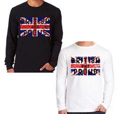 Velocitee Mens Long Sleeve T Shirt British & Proud UK Union Jack Flag V185 #Velocitee