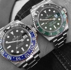 """Rolex """"Batman"""" GMT Master II vs the """"Hulk"""" Submariner. Mens Skeleton Watch, Skeleton Watches, Sport Watches, Cool Watches, Luxury Watches, Rolex Watches, Rolex Wrist Watch, Wrist Watches, Rolex Batman"""