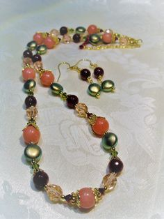 Vintage Rose Russian Gold Collection Beaded Necklace by SaliJoGemsLaValencia on Etsy