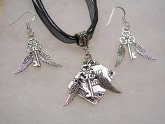Harry Potter  Flying Key  Earrings & Book Of by paulandninascrafts, $14.99