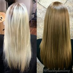 Platinum to bronde hair color makeover #aloxxi #whatsyourcolorpersonality
