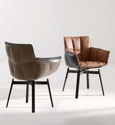 contemporary leather chair with armrests HUSK by Patricia Urquiola B Italia
