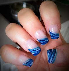 French nail art gel blue