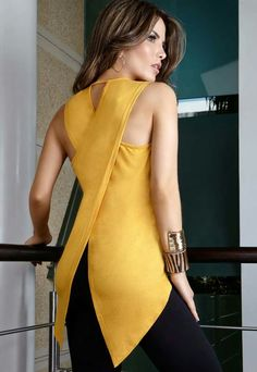 Fashion Women Ladies Blouses Summer Sleeveless Slim chiffon Blouse Casual Irregular Shirt Tops Asymmetry shirt tops blusas Plus Casual T Shirts, Casual Tops, Beach Casual, Casual Summer, Casual Chic, Outfit Trends, Yellow Blouse, Yellow Top, Color Yellow