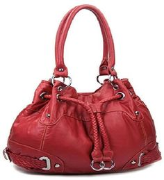 Red Cinch Tie Stone Washed Handbag  #HBM #Hobo