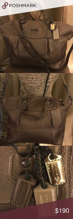 🍂COACH MADISON LEATHER CLAIRE Serial #F0968-14334 New Authentic Madison Collection Claire Coach Satchel features three embossed signature Coach hang tags as well as Horse and Carriage hardware. Its copper color is sure to add a statement to any autumn wardrobe. Top zippered closure with dual leather top handles and single detachable shoulder strap. This never used gorgeous Limited Edition also features a luxurious purple satin interior lining, single side zipper pocket, side by side…