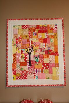 Just adding a fusible tree adds so much interest.  Did this in a color wash small wall hanging.  Like it!!!!!