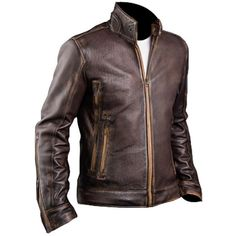 Men's Biker Cafe Racer Vintage Motorcycle Distressed Brown Leather Jacket #Branded #Motorcycle