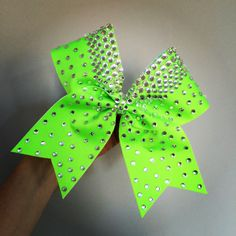 Total Lime Bling Spandex Cheer Bow with Beautiful Rhinestones