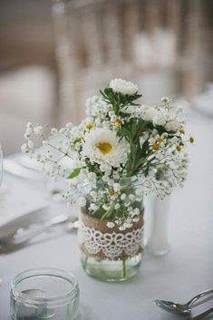 Our Favourite Real Weddings of 2014 - Wedding centerpieces - Blumenkranz Winter Wedding Centerpieces, Wedding Table Centerpieces, Daisy Wedding Arrangements, Centerpiece Ideas, White Flower Centerpieces, Daisy Bouquet Wedding, Mason Jar Flower Arrangements, Simple Weddings, Real Weddings