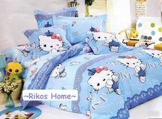 New 2013 Unique Hello Kitty Bedding Set Blue 4pc Queen King Size Cotton RARE