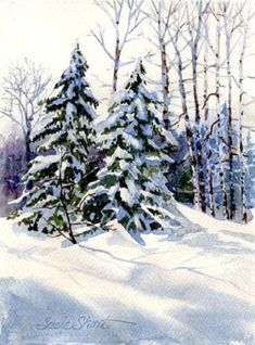 Steps to painting watercolor winter landscapes #WinterScenes