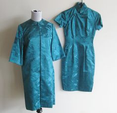 ビンテージ 50 年代ジョルジュ クチュール ブルー サテン中国チャイナ ドレス & マッチング by hillbillyfilly