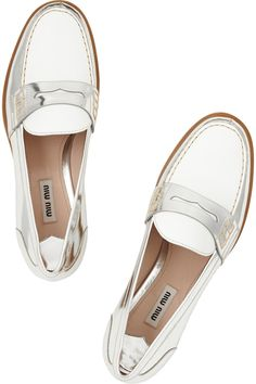 Miu Miu | Two-tone metallic leather penny loafers | NET-A-PORTER.COM