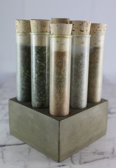 Empty SPICE SET Tubes with Concrete Base by Culinarium on Etsy. Want it.