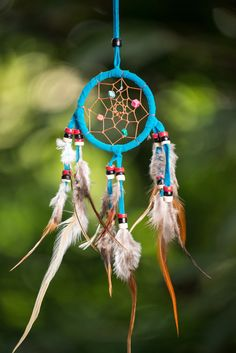 Hand Made Small Dream Catchers With Feathers Blue