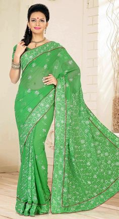 Contemporary Green Embroidered #Saree