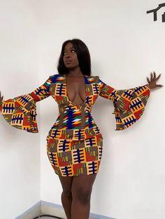Ankara printed dress / kitenge short dress for women's / party dress for women's / African print sex mind dress for weddings and party - African fashion Black Women Fashion, Look Fashion, Girl Fashion, Fashion Outfits, Female Fashion, Black Fashion Bloggers, Fashion Hacks, Street Fashion, African Attire
