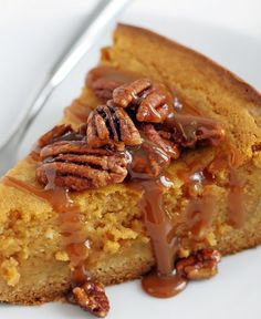 Rich in fall's favorite flavor (pumpkin), this over-the-top pumpkin butter cake is finished with caramel sauce and candied pecans, making it nothing less than irresistible. Worried about it being too sweet? Substitute plain toasted pecans in for the candied variety.
