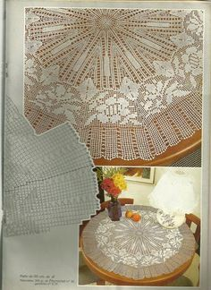 "Photo from album ""Muestras y Motivos Especial Panos on Yandex. Crochet Tablecloth Pattern, Crochet Doily Rug, Crochet Doily Diagram, Crochet Doily Patterns, Crochet Round, Baby Knitting Patterns, Fillet Crochet, Knitted Blankets, Views Album"