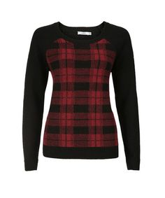 Plaid Front PulloverPlaid Front Pullover, Black/Red Plaid