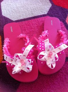 Breast cancer flip flops by Greshiepaws on Etsy, $10.00