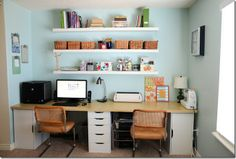 two desk space