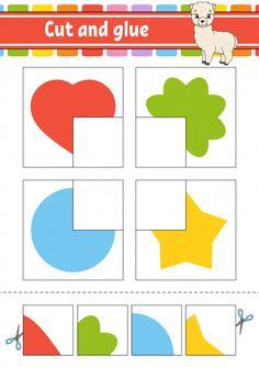 Cut and glue game for kids Premium Vecto. Color Worksheets For Preschool, Shapes Worksheet Kindergarten, Preschool Printables, Preschool Learning Activities, Preschool Activities, Activities For Kids, Shapes For Kids, Puzzle Games For Kids, Kids Education