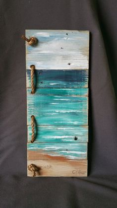 Diy Crafts Ideas : Upcycled Reclaimed Wood Pallet Art Hand painted seascape with rope accent Beac