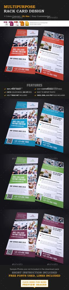 Education Rack Card DL Flyer Design Template Vector EPS, InDesign INDD, AI Illustrator. Download here: http://graphicriver.net/item/education-rack-card-dl-flyer-design/16597887?ref=ksioks