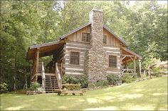 antique log cabin fireplace Little Creek Cabin - Antique Logs Rebuilt as Cozy… Old Cabins, Tiny Cabins, Log Cabin Homes, Cabins And Cottages, Cabins In The Woods, Cabins In The Mountains, Cabin Fireplace, Casa Patio, Little Cabin