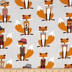Fox and The Houndstooth Foxes Fabric - Gray - Foxy Tula Fabric - Sold by the yard
