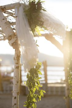 Antique Veil - Chuppah, North Lake Tahoe Featured on Style Me Pretty  http://www.stylemepretty.com/2015/02/04/stylish-lake-tahoe-summer-wedding/