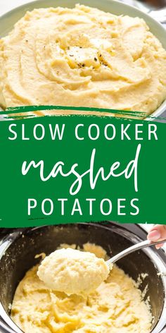 These Slow Cooker Mashed Potatoes are the perfect easy holiday side dish! Basic ingredients, perfect for a crowd, and extra creamy and flavourful. The BEST set-it-and-forget-it side dish recipe! Recipe from thebusybaker.ca! #christmas #thanksgiving #mashedpotatoes #sidedish #slowcooker #crockpotsidedish #holidaysidedish #potatoes via @busybakerblog